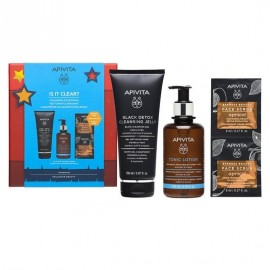 Apivita Promo Is It Clear? Black Detox Cleansing Jelly 150 ml & Cleansing Tonic Lotion 200 ml & Express Beauty Face Scrub Apricot 2 x 8 ml
