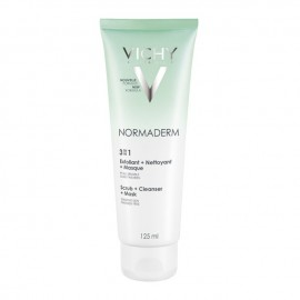 Vichy Normaderm 3 in 1 Scrub-Cleanser-Mask, Απολέπιση-Καθαρισμός-Μάσκα 125ml