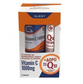 Quest Vitamin C 1000mg Timed Release 60 ταμπλέτες + Once A Day Q10 & Vitamins B, C & E 20 αναβράζοντα δισκία